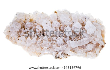 crust of salt from Dead Sea coast isolated on white background - stock photo