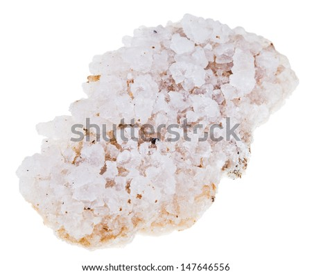 crust of sea salt from Dead Sea coast isolated on white background - stock photo