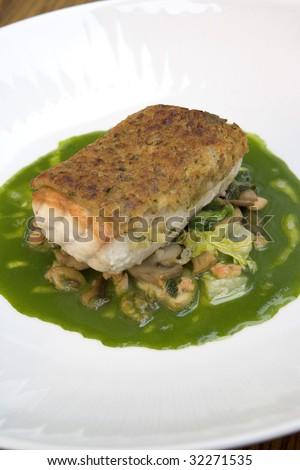 Crusted Sea Bass - stock photo