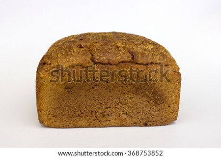 crusty bread isolated on white background