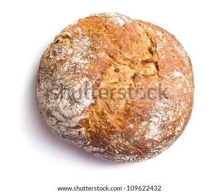 crusty bread on white background - stock photo