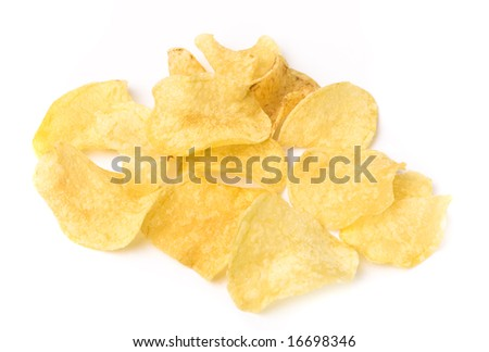 Crusty potato chips isolated on white