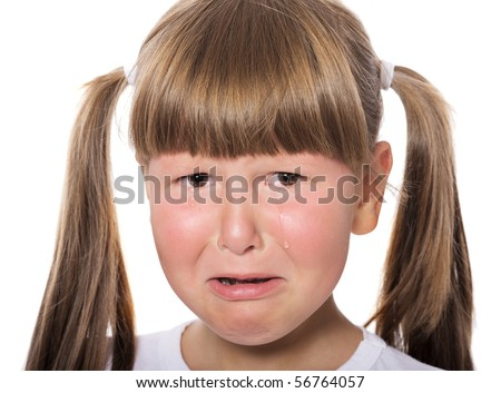 Crying aloud child with moody face isolated on white - stock photo