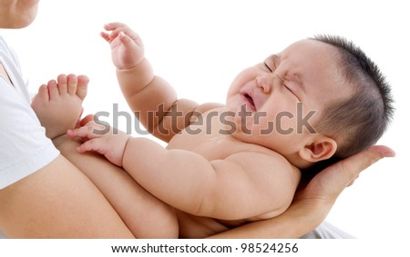 crying asian baby - stock photo
