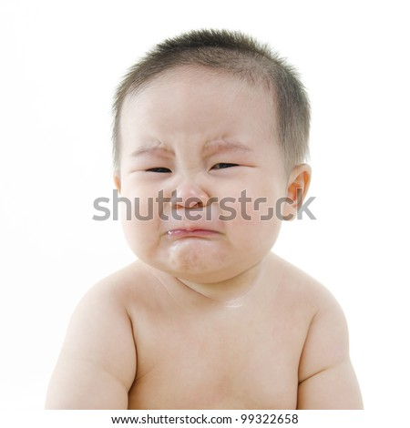 Crying Asian baby on white background