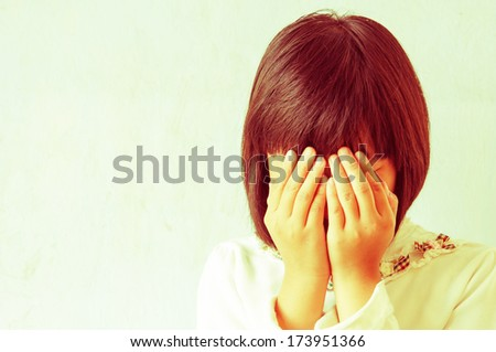 Crying asian young lady, Vintage. - stock photo
