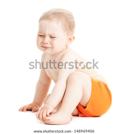 crying baby boy isolated.