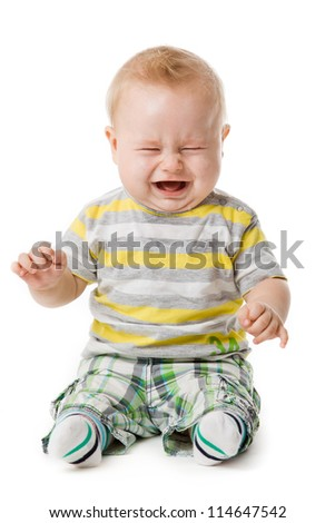 crying baby boy isolated on white