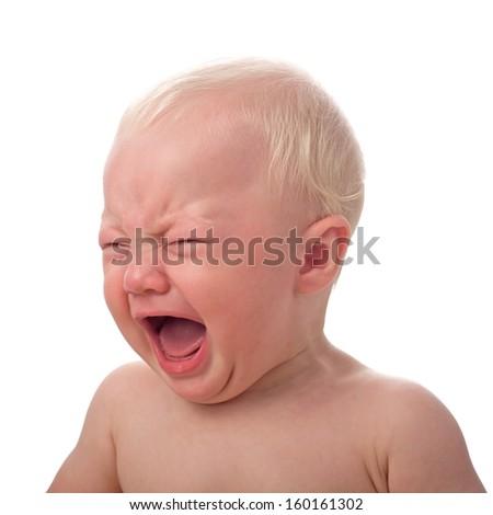 Crying baby boy isolated on white  - stock photo