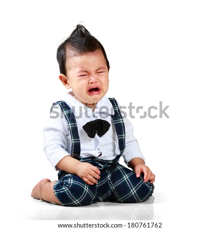 Crying baby boy, Isolated over white - stock photo
