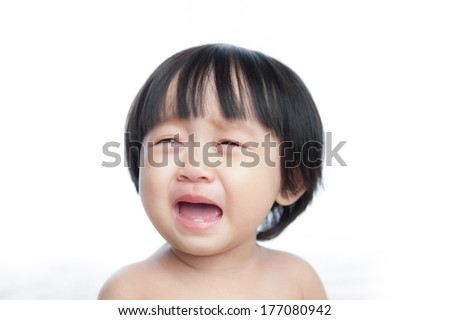 Crying baby girl in isolated - stock photo