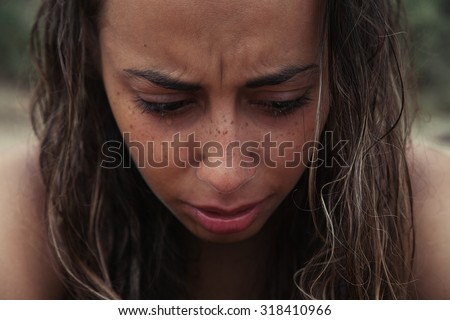 Crying Beauty Girl. Beautiful Model Woman Cry. Tears - stock photo