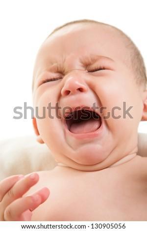 crying boy isolated on white - stock photo