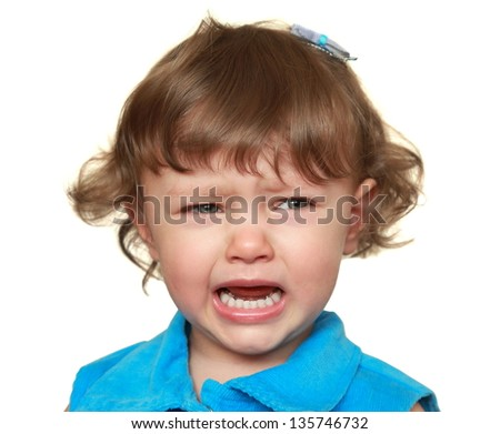 Crying child looking sad and unhappy isolated on white background. Closeup portrait - stock photo