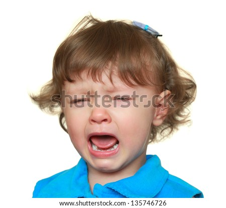 Crying girl with opened mouth isolated on white background. Closeup portrait - stock photo