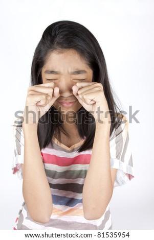 crying kid, Asian girl acting crying sadness. - stock photo