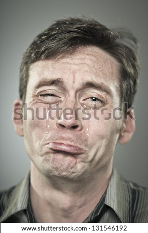 Crying Man Portrait - stock photo