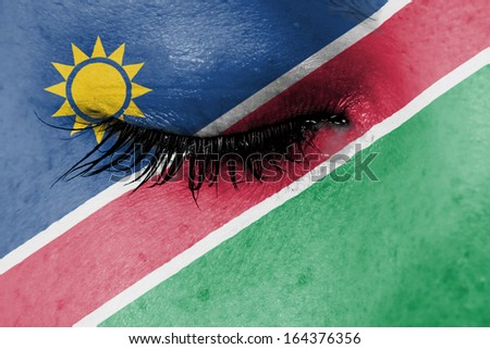 Crying woman, pain and grief concept, flag of Namibia