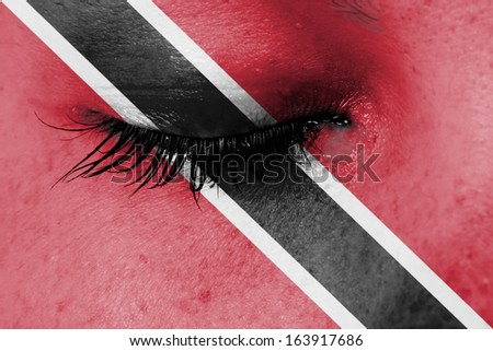 Crying woman, pain and grief concept, flag of Trinidad and Tobago