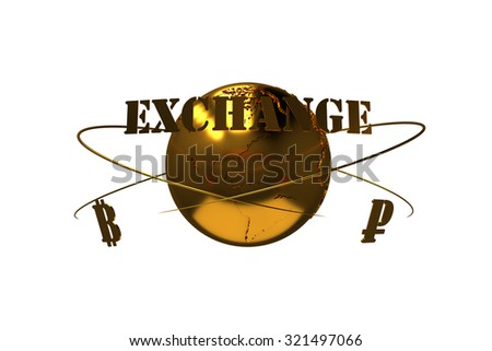 Cryptocurrency. Bitcoin exchange for ruble. Arrows around planet earth and world currency. Path included. - stock photo