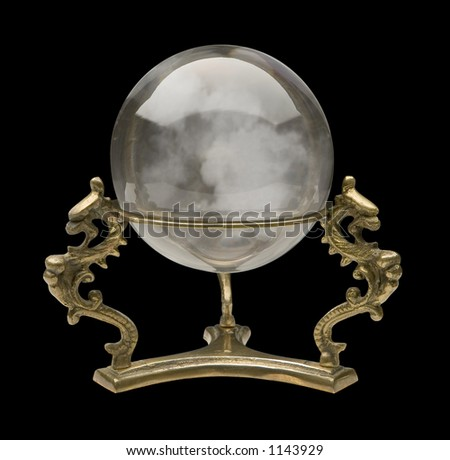 Crystal Ball isolated on black - stock photo