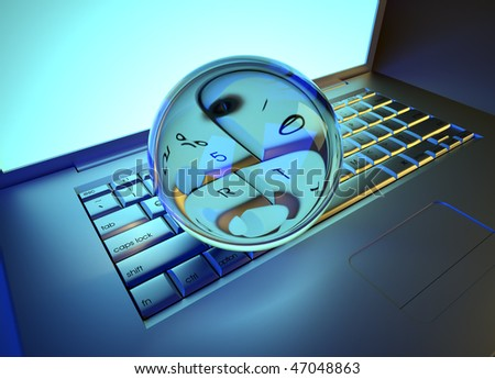 Crystal ball over keyboards computer laptop - 3d render illustration