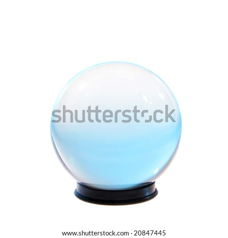 Crystal ball with turquoise light inside isolated on white - stock photo