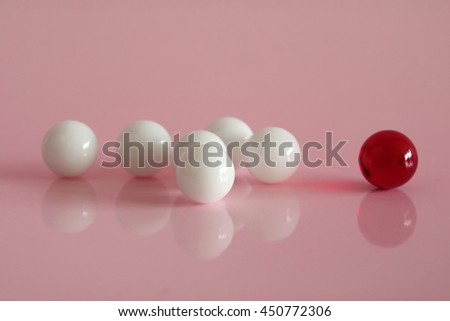 crystal balls on pink background - stock photo