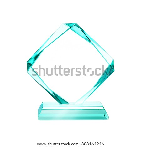 crystal blank for award isolated on a white background with a clipping path - stock photo