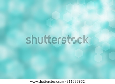 Crystal blue aquamarine water colored bokeh background with hexagon bright lights. Sunny blue sky hexagons concept backdrop. Hexagonal abstract blurred light. - stock photo