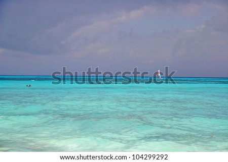 crystal blue ocean water of Caribbean Cancun Mexico - stock photo