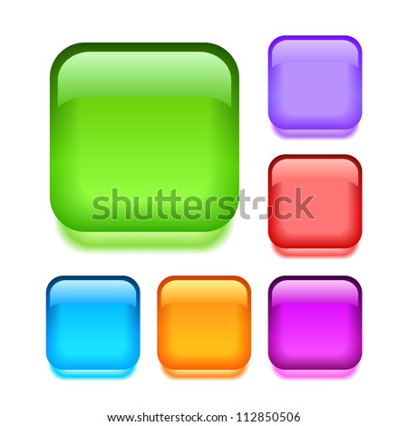 Crystal buttons set over white - stock photo