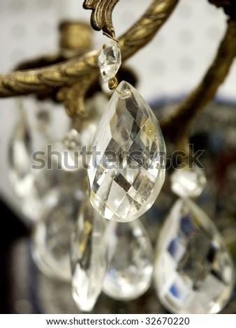 Crystal chandelier detail - stock photo