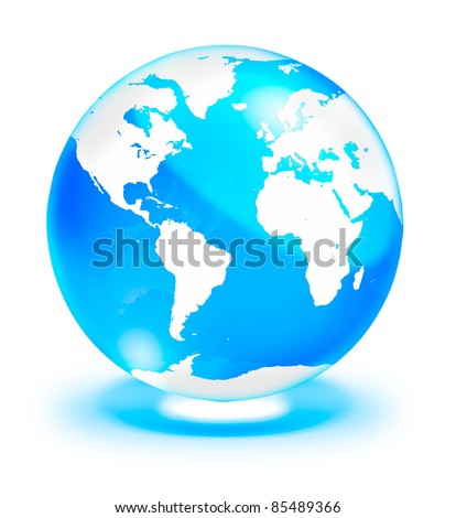 Crystal clear Globe with world map, isolated on white background - stock photo
