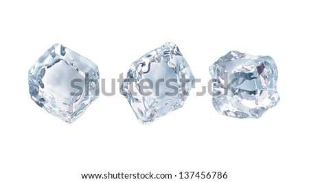crystal clear ice cubes set isolated on white background, frozen water - stock photo