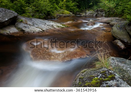 crystal clear mountain stream in the woods