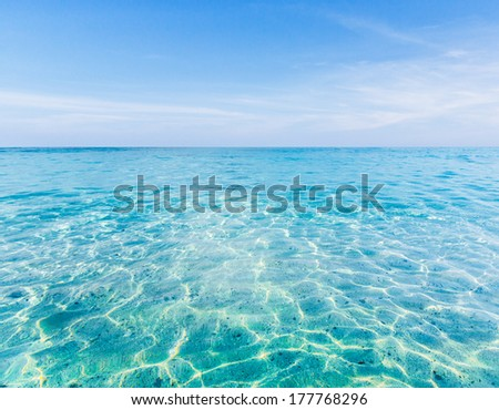 Crystal clear sea of tropical island - stock photo