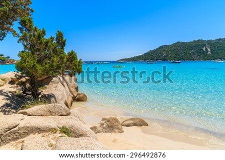 Crystal clear turquoise sea water of Santa Giulia beach, Corsica island, France