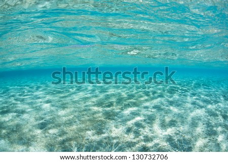 Crystal clear water inside a lagoon in the South Pacific exemplify the tropics.  The warm, nutrient-free water is home to a wide variety of marine life. - stock photo