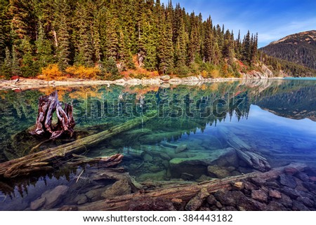 Crystal clear water, logs and boulders at the bottom of the lake, pine trees covering the side of the mountain - stock photo