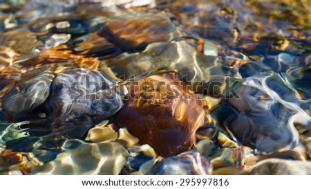 Crystal clear water of small brook in Altai steppe in Chagan-Ouzun place - stock photo