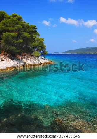 Crystal clear waters at Amarantos cape, Agnondas, Skopelos island, Greece
