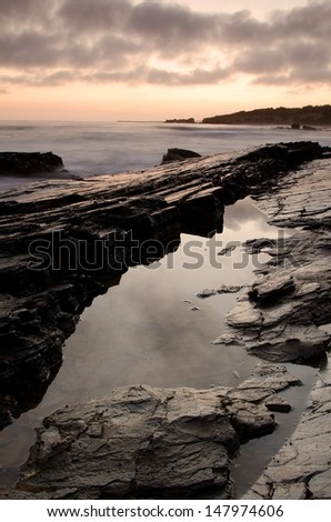 Crystal Cove State Beach at sunset in Orange County, CA.  - stock photo