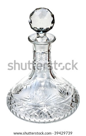 crystal decanter isolated on a white background
