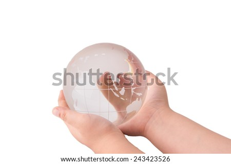 Crystal globe in hand on White Isolate background
