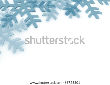 Crystal ice snowflake background - stock photo