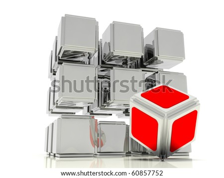 crystal lattice consisting of mirrored cubes and one red cube - stock photo