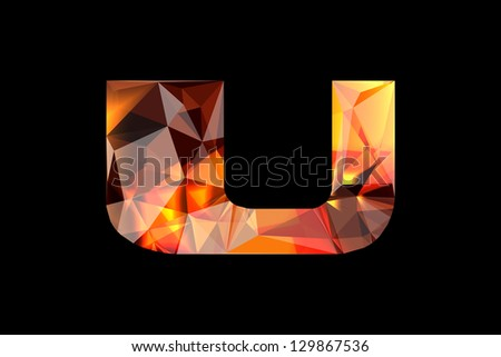 Crystal letter U, isolated on black background. - stock photo