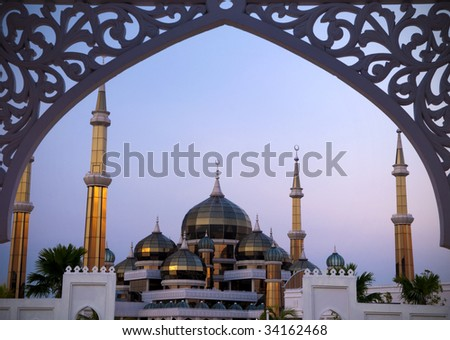 Crystal Mosque or Masjid Kristal in Kuala Terengganu, Terengganu, Malaysia, Asia during sunset. - stock photo