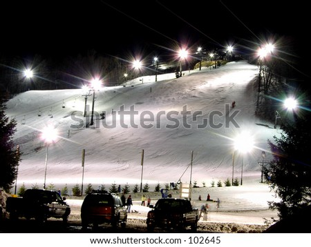 Crystal Mountain Ski resort in Michigan on a cold winter night.